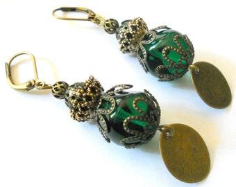 Green earrings, gypsy Earrings, rustic dangle brass earrings, gift under 20. boho earrings, green and brass earrings, boho vintage jewelry