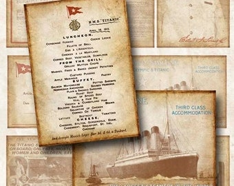 Digital Collage Sheet Titanic 2 Backgrounds Hang Tags ATC ACEO Instant Download ATC124