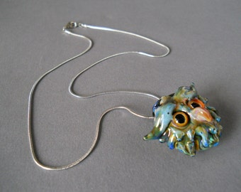 Owl Pendant Necklace Jewelry by Glass sculptor artist Ron Murphy