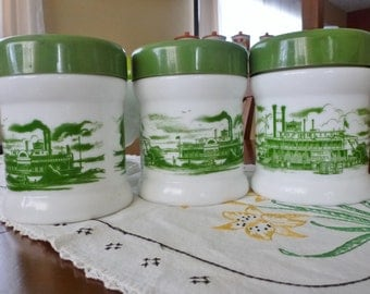 vintage HUMIDOR green/white milk glass canister. steam boat design canister. retro canister jar. opaline canister