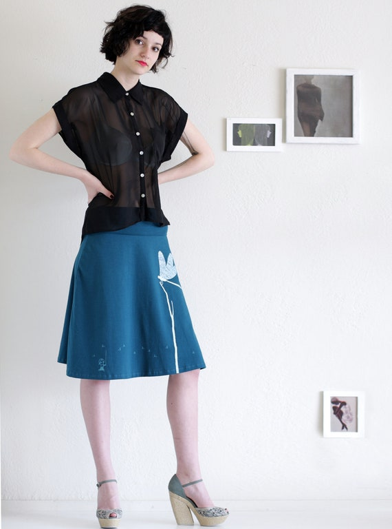 Womens Knee Length Teal Blue A-line skirt - Catching the Dragonfly - size Large