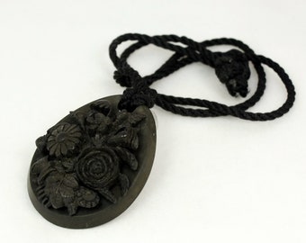 Victorian Pendant Mourning Jewelry Vulcanite Pendant Carved Cameo Pendant High Relief Cameo Black Cameo Necklace Carved Flower Antique Large