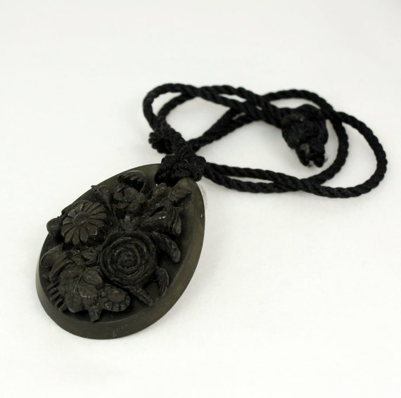 Victorian Mourning Jewelry Vulcanite Floral Cameo Pendant