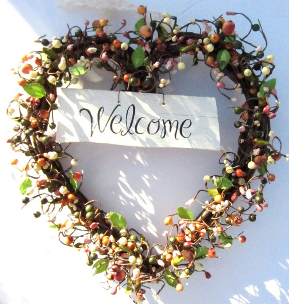Heart Berry Wreath - Front Door Decoration - Welcome Sign