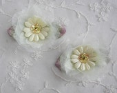 2 pc Organza Fabric Beaded Flower Applique Baby Yellow Velvet Ribbon Daisy w Sequins Stone Leaves