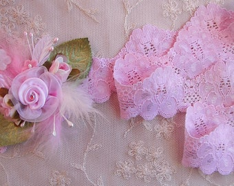 NEW Stretch 2 yds BABY PINK Flower Floral Lace Lingerie Headband Camisole Clothing Altered Couture Designs