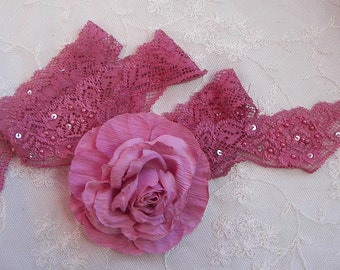 2 yds Pearl Sequin BEADED Stretch Rose PINK Flower Floral Lace Lingerie Headband Camisole Clothing Altered Couture Designs