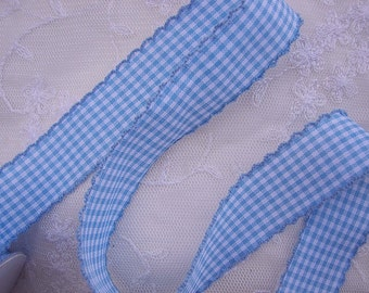 2yd Scalloped BLUE WHITE Gingham Checkered Ribbon Trim Baby Sewing Scrapbooking Card Making