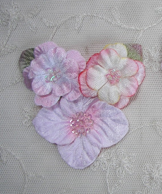 Velvet Beaded Flower Applique Pink w sequins glass beads Corsage