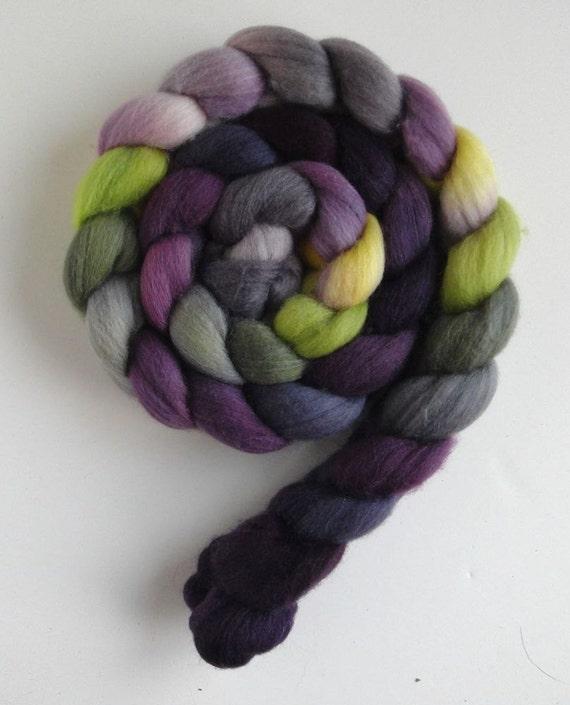Polwarth/Silk Roving (Top) - Handpainted Spinning or Felting Fiber, Black Pansies