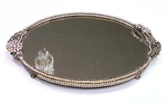 Vintage Rhinestone Encrusted Silverplate Plateau Mirror - Reserved