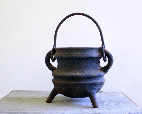 Antique Cast Iron Footed Cauldron - Vintage