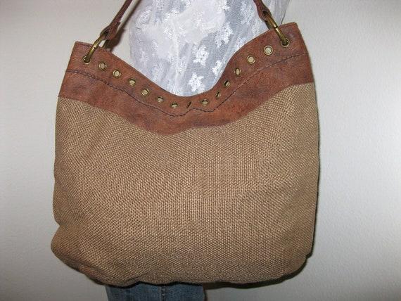 Hobo International large tote shoulder bag burlap suede flawless