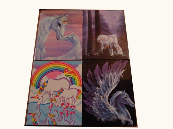 Back to School Set of 4 Vintage late 1980s Unicorn Pocket Folders Lisa Frank and Mead FREE SHIPPING 71912001