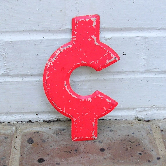 Vintage Metal C Cent Sign Vintage Marquee Cent Sign Vintage Orange Cent Sign