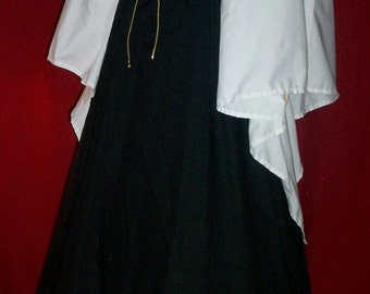 BLACK Renaissance dress with White dagget sleeves