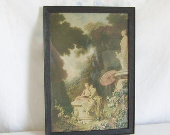 "Vintage romantic print colonial couple print  Fragonard  print ""Love Letters"" print framed print shabby cottage modern farmhouse decor"