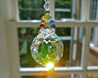 """Rearview Mirror Crystal, Swarovski Crystal Suncatcher for Car or Home - Choice of 14 Colors and 2 Lengths - """"LITTLE SIMPLICITY RAINBOW"""""""