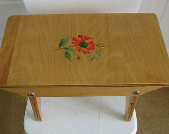 Vintage Stool Bench Wood Ottoman Flower Decal Cottage Chic Flower Decal