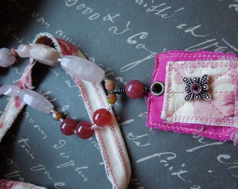 Shabby Chic Pink Fabric Necklace with Hot Pink Fabric Pendant
