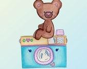 Teddy Bear Vintage Film Camera Nursery Art Print 8 x 10 Original Art