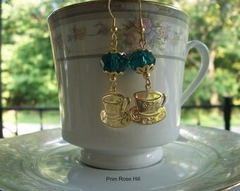 Teal blue Tea Cup Earrings