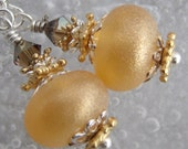 Gold Glitz Party- Artisan Lampwork And Sterling Earrings- Cynensemble