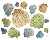 By the Sea No. 3 shells original watercolor painting