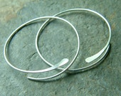 Sterling Silver Open Hoops Hammered Large Silver eco friendly Hoop Earrings, choose your size, Womens Gift, Girlfriend gift, Sister Gift