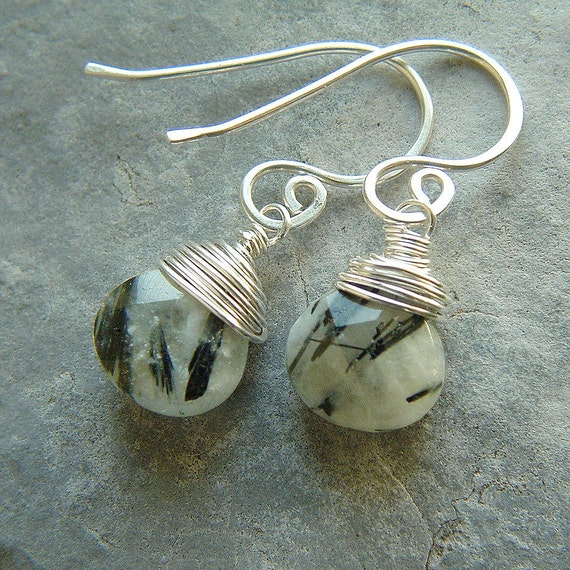 Tourmalated Quartz Earrings Silver Wire Wrapped Earring holiday fashion gift