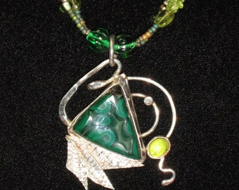 Sterling Silver Brutalist Malachite Beaded Necklace