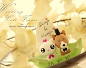 corgi and cat Wedding Cake Topper-love kitty,love cat and dog  with leaf boat---k876