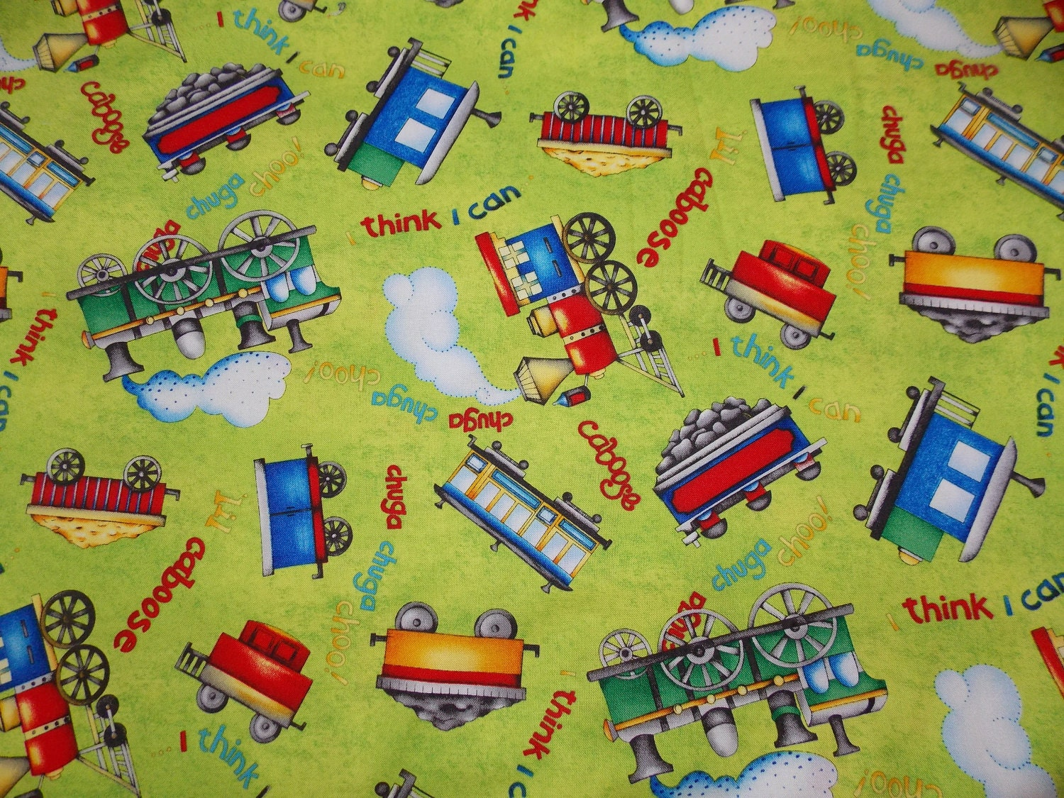The little engine that could fabric by the yard for Train fabric by the yard