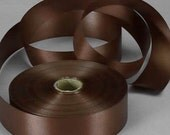 5/8 inch x 100 yard (number 3) Floral Satin Ribbon --- BROWN/CHOCOLATE