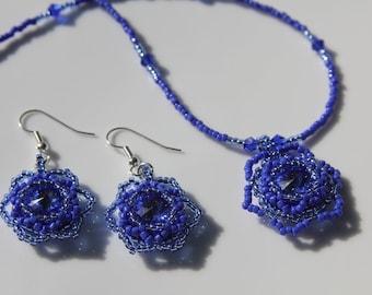 Handmade Jewelry, Handmade Necklace, Necklace set, Swarovski Crystal, handwoven jewelry, handmade jewelry, Custom Jewelry, Blue necklace