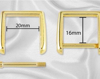 "12pcs - 3/4"" Square Shaped Bamboo Handle Hardware - Gold - Free Shipping (HARDWARE HRD-302)"