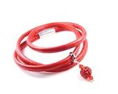 Red Triple Wrap Bracelet, Handmade Eco Leather Wrap Bracelets, Red Eco Nappa Leather & Swarovski Crystal Cuff, Triple Wrap