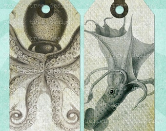 Printable Tags OCTOPUS AND SQUID Digital Collage Sheet Tags & Bookmark - no. 0023