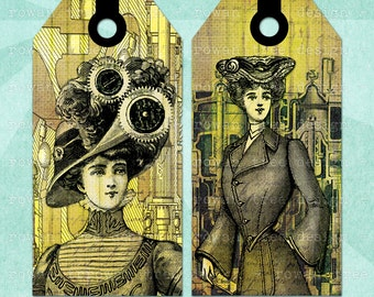 STEAMPUNK VICTORIAN LADIES Printable Tags and Bookmark Digital Collage Sheet - no. 0081