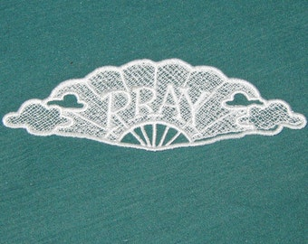 Lace machine embroidered Pray Bookmark, White