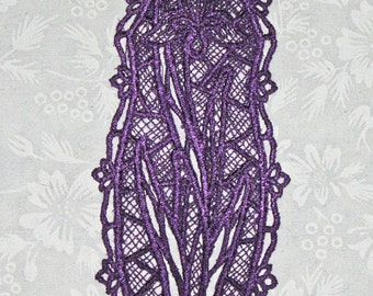 Lace machine embroidered Bookmark, Iris flower done in purple