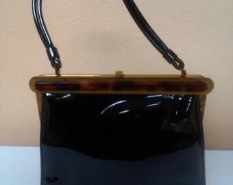 Mid Century Black Patent Leather Purse