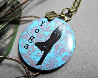 Yoga locket necklace, damask print, photo locket,  aqua, teal, large round locket, ginko leaf charm