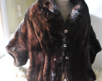 Glamour vintage 60s dark chocolate brown genuine glossy mink mini coat, shrug,capelet, stole, wrape. Size S-M. Sale20%