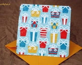 Blank Mini Card Set of 10, Holiday Presents Design with Contrasting Stripe on the Inside, Golden Yellow Envelopes, mad4plaid