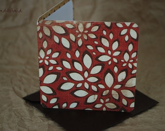 Blank Mini Card Set of 10, Abstract Fall Floral with Mini Acorns on the Inside, Metallic Bronze Envelopes, mad4plaid