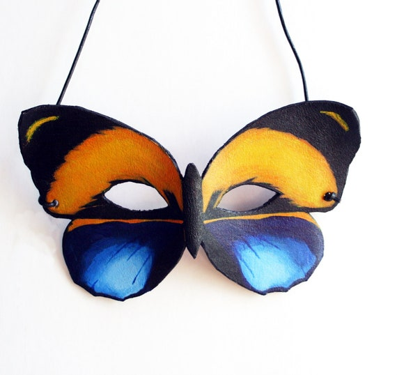 Leather Butterfly Mask-Blue and Orange Costume Fairy  Woodlands Masquerade Halloween-Adult Size