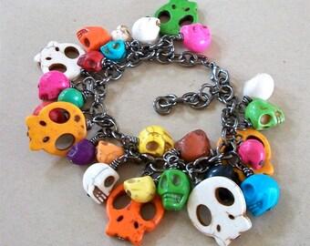 SKULL BRACELET Multi Colored Stone Beads Day of the Dead Gunmetal Chain