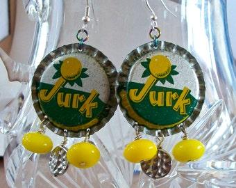 Bottle Cap Earrings Vintage Jurk Soda Green Yellow
