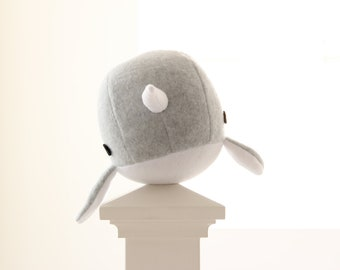 Handmade narwhal plush toy- Rachel- light grey soft fleece whale narwal plushie, Christmas, Baby shower